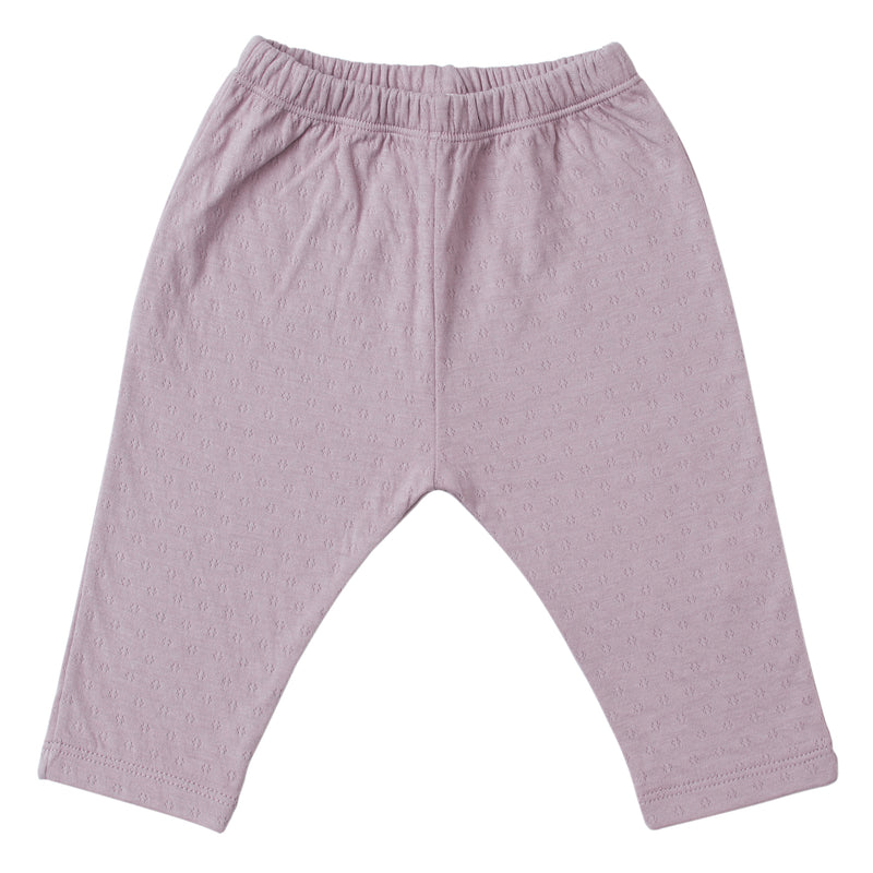 lavender straight leg pointelle ribbed pants with soft encased elastic at waistband.  100% organic cotton.