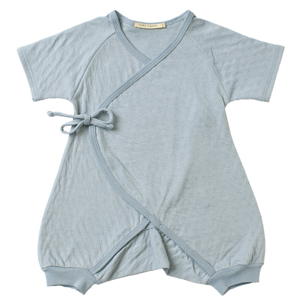 mint color pointelle short sleeved kimono double front wrap onesie with leggings.  100% organic cotton.