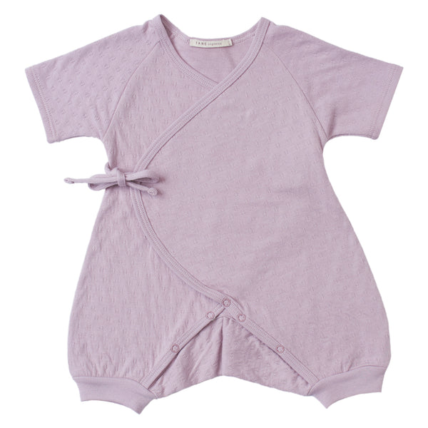 lavender color pointelle short sleeved kimono double front wrap onesie with leggings.  100% organic cotton.