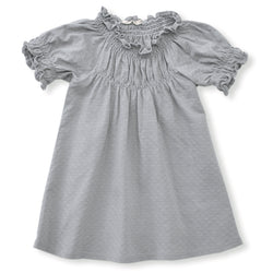 cool grey pointelle short sleeved dress with soft elastic gathering at neckline and cuffs. 100% organic cotton pointelle knit.