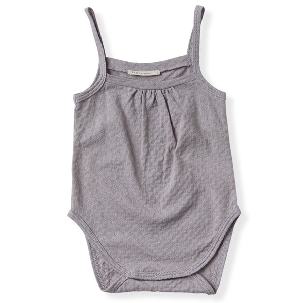 cool grey pointelle tank onesie with gentle snaps.  100% organic cotton.