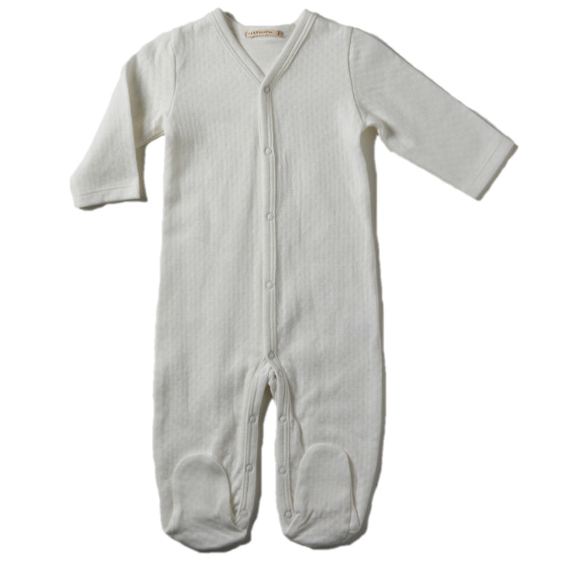 Pointelle V-neck Footie with Center Snaps