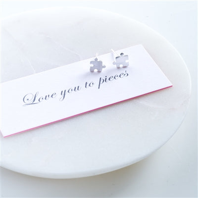 Love You To Pieces Sterling Silver Stud Earrings