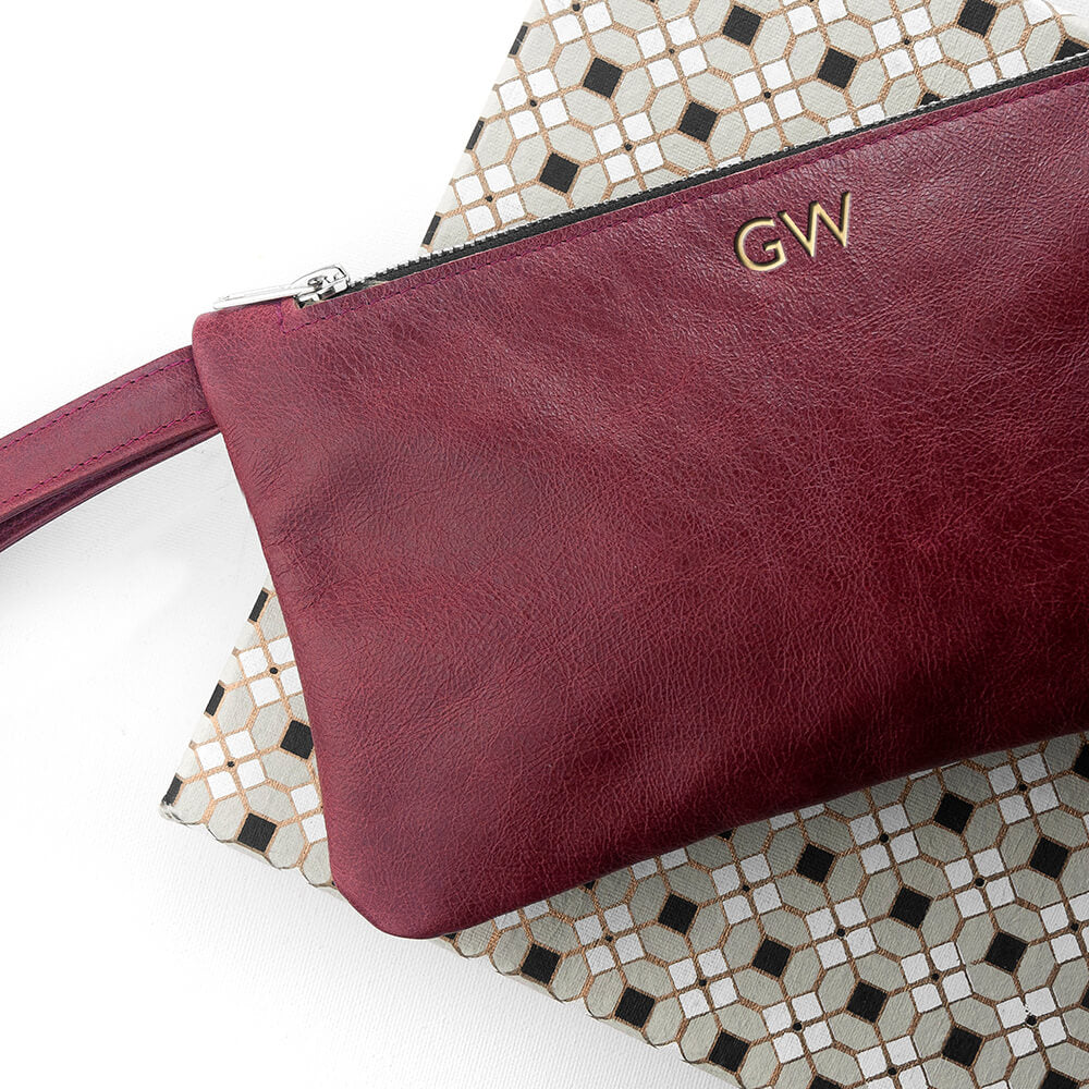 Monogram Leather Clutch Bag - Black or Burgundy