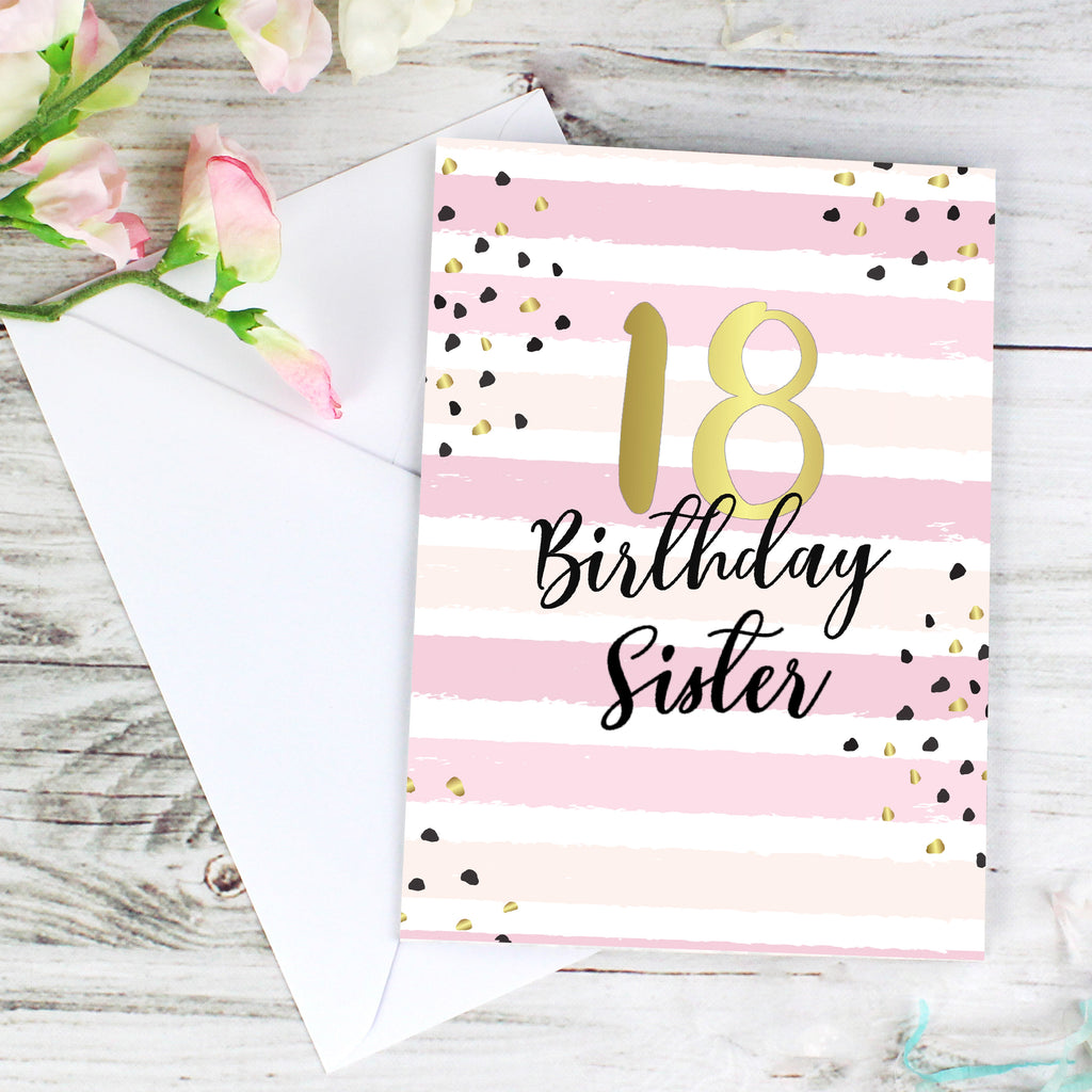 Personalised Gold & Pink Stripe Birthday Card (Any Age)