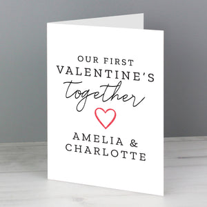 Personalised 'Our First Valentine's Day' card.