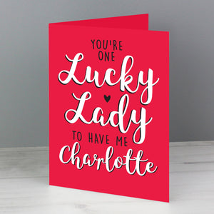 Personalised 'Lucky Lady' Valentine's Card