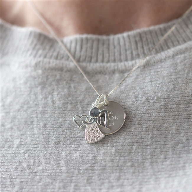 Sterling Silver personalised Angel Necklace
