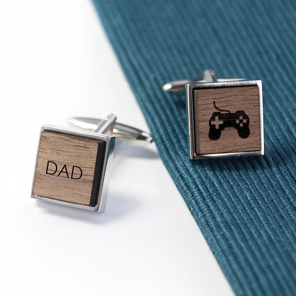 Iconic Hobbies Engraved Square Walnut Cufflinks