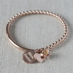 Rose Gold bead stretch personalised flower bracelet with 14KT gold-filled beads
