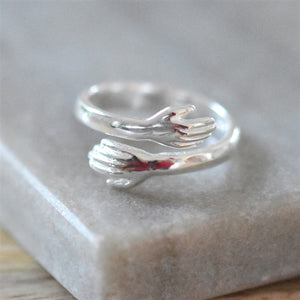 Hug Sterling Silver Ring