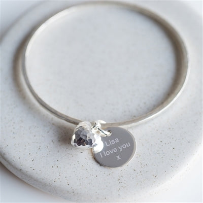 Sterling Silver Puffed Heart Personalised Bangle