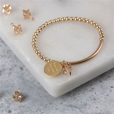 Personalised Gold stretch 3D star bracelet