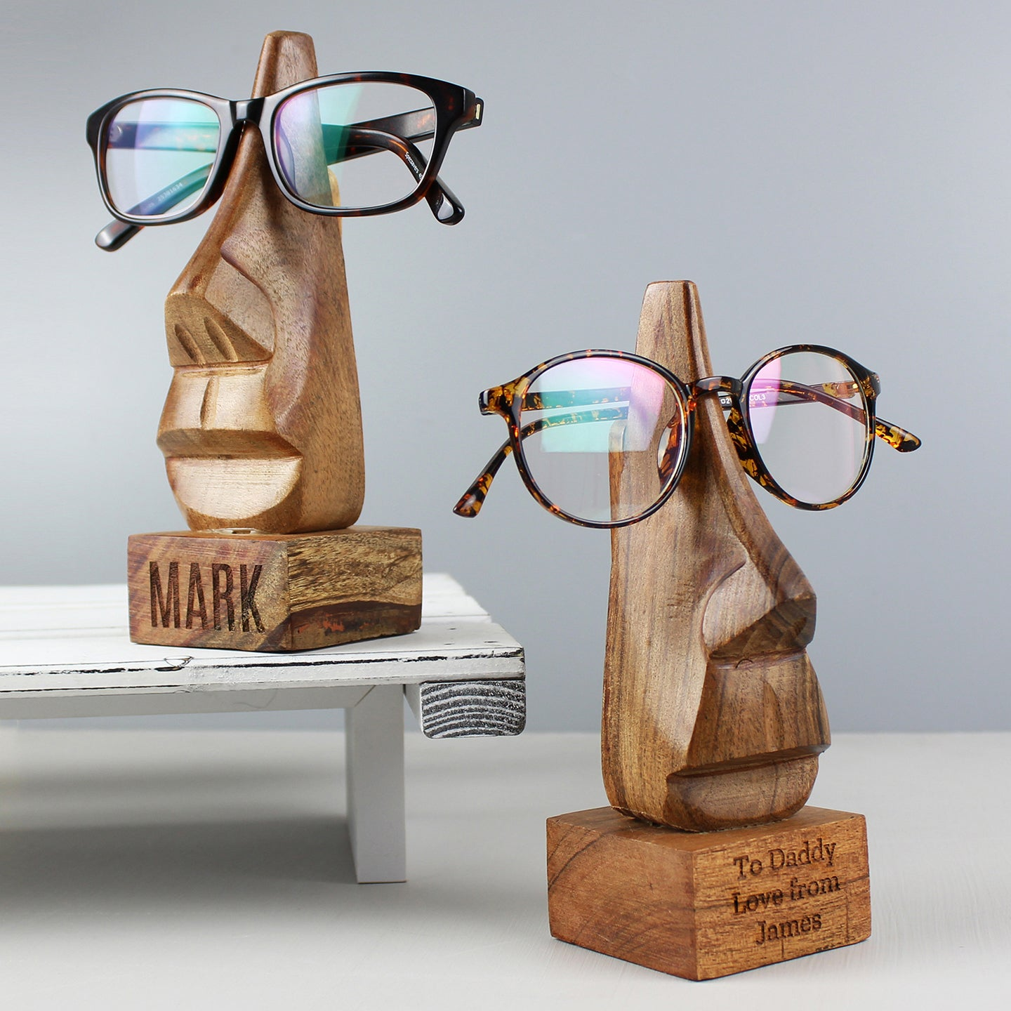 Personalised Wooden Glasses Holder - Message