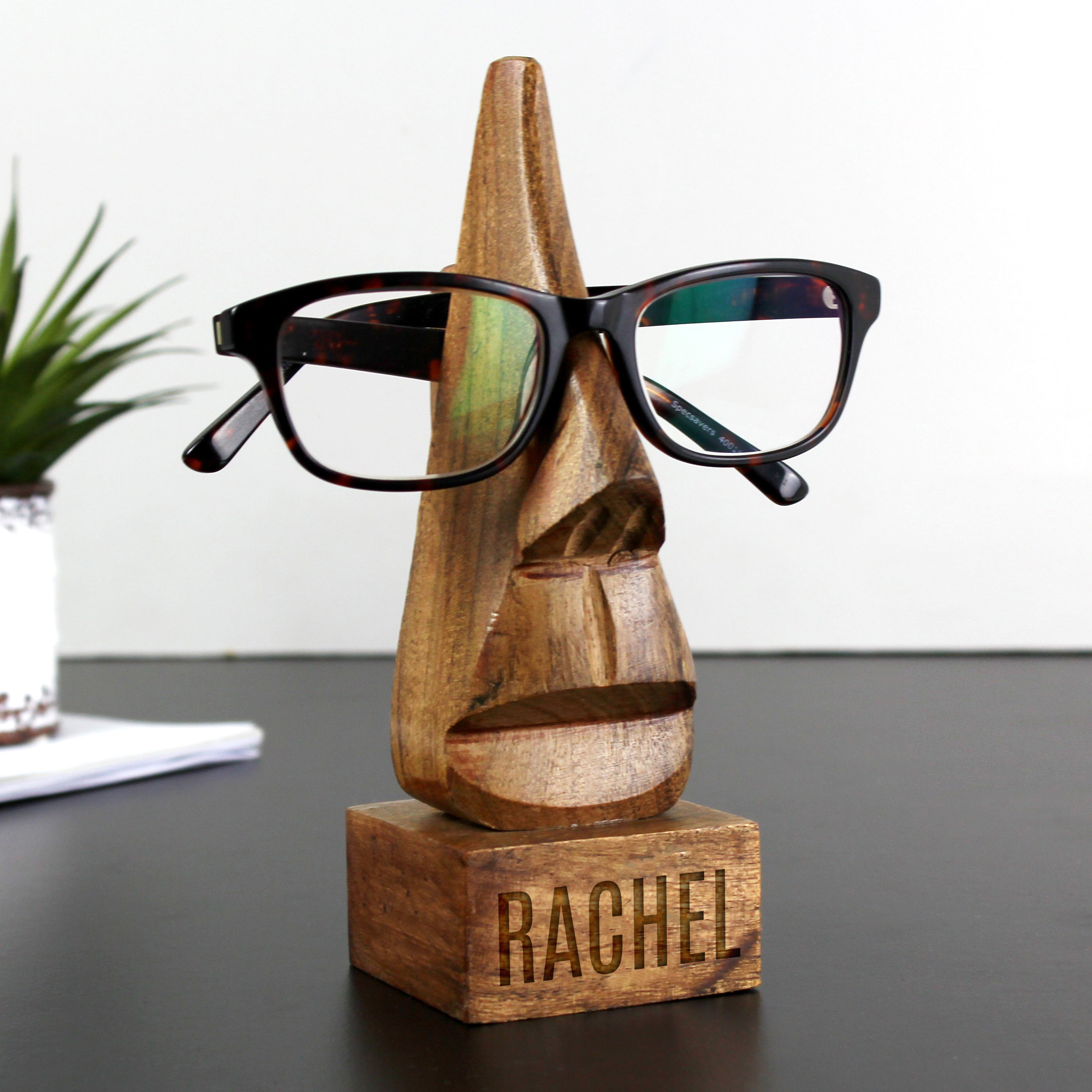 Personalised Wooden Glasses Holder - Name Only