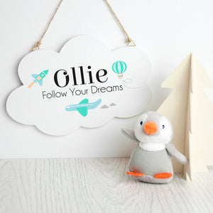 Personalised 'follow your dreams' cloud wall hanging
