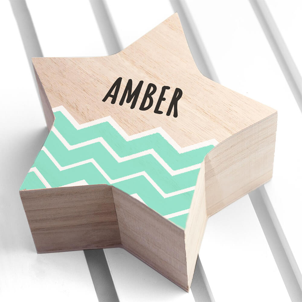 Personalised Zig-Zag Star Trinket Box