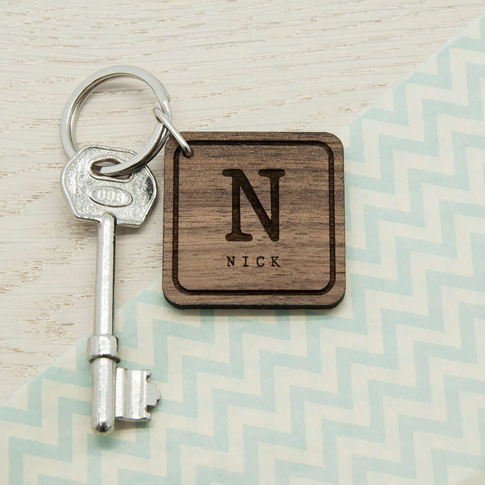 Square Wooden Keyring - Initial and Name