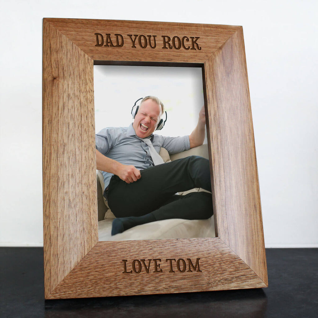 DAD YOU ROCK engraved photo frame
