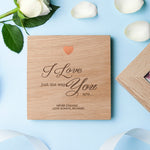 Personalised small 'Just The Way You Are' oak photo cube.