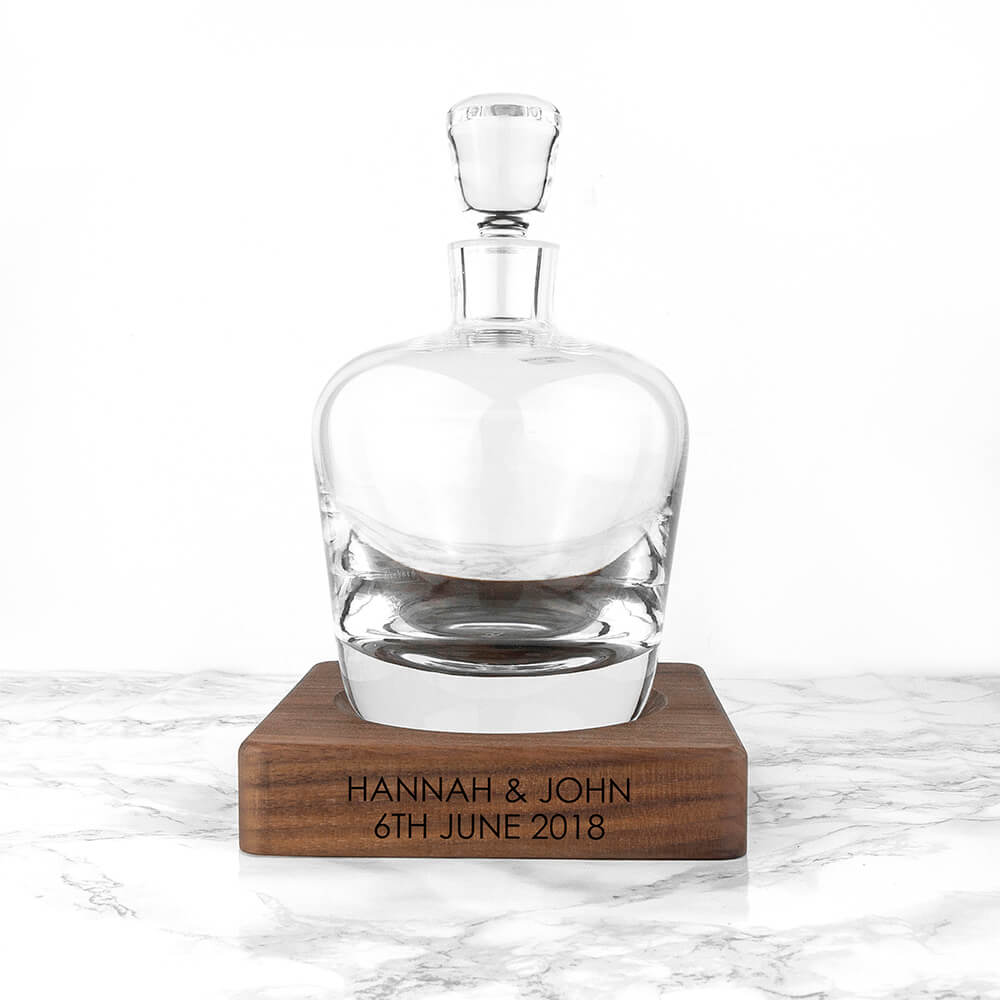 Personalised LSA Whisky Decanter and Walnut Base