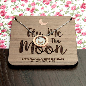 Personalised 'fly me to the mood' necklace and keepsake