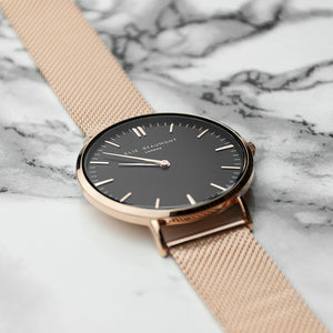 Personalised Ellie Beaumont Rose Gold Ladies Watch - Black Dial