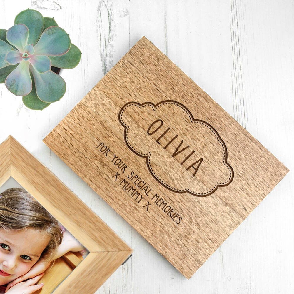 Personalised Baby Name In Cloud Oak Photo Cube Keepsake Box