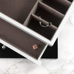 White Luxe Jewellery Box with personalised heart