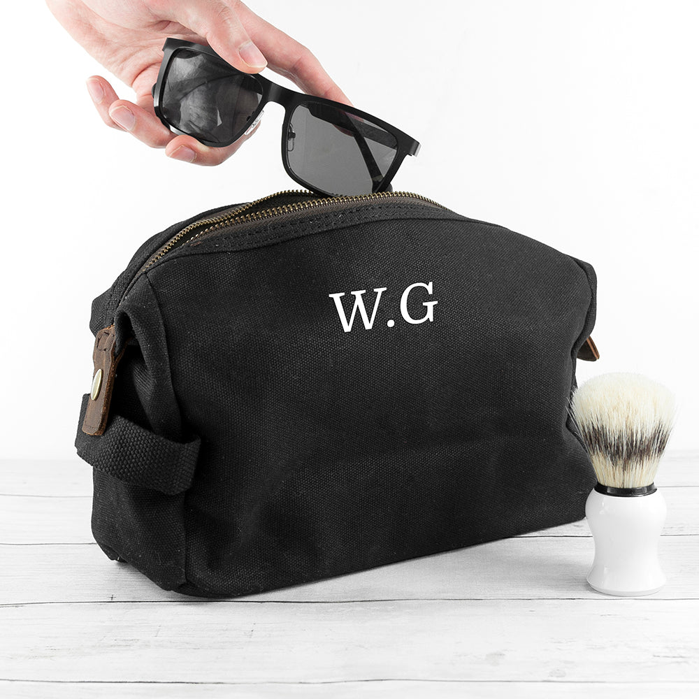 Personalised men's waxed wash bag