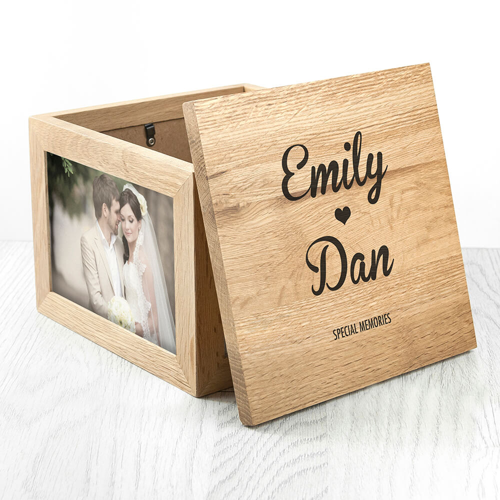 Oak Photo Keepsake box with Names and Heart