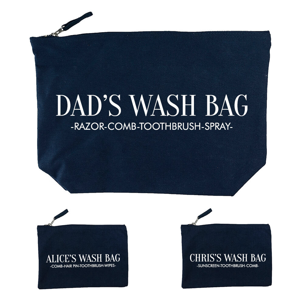 Personalised Daddy and Me Black Washbags