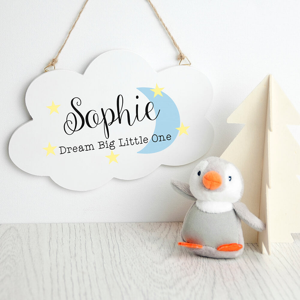 Personalised 'Dream big little one' cloud wall hanging
