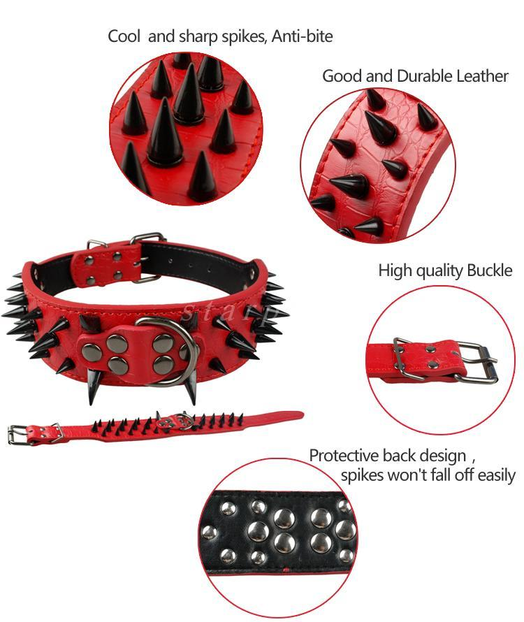 Dog Collars Leads & Harnesses - Spiked Studded Leather Dog Collars S M L XL RED