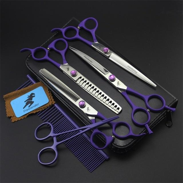 6pcs/Set Dog Grooming Scissors Straight Curved Thinning 7.0 Inch FREELANDER