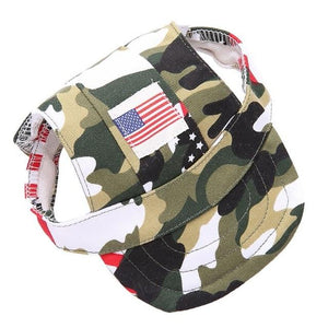 Dog Visor Cap With US Flag