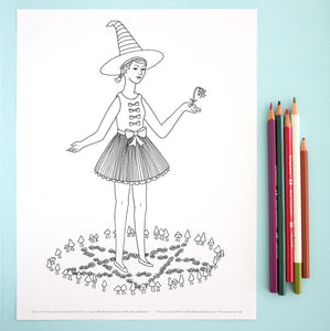 Coloring Page: Witch in a Faerie Ring