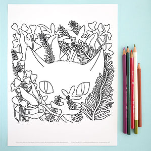 Coloring Page: Cat in the Garden