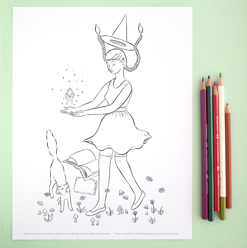 Coloring Page: Levitation Witch