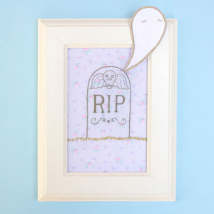 Embroidery Pattern: Stumpwork Tombstone & Ghost