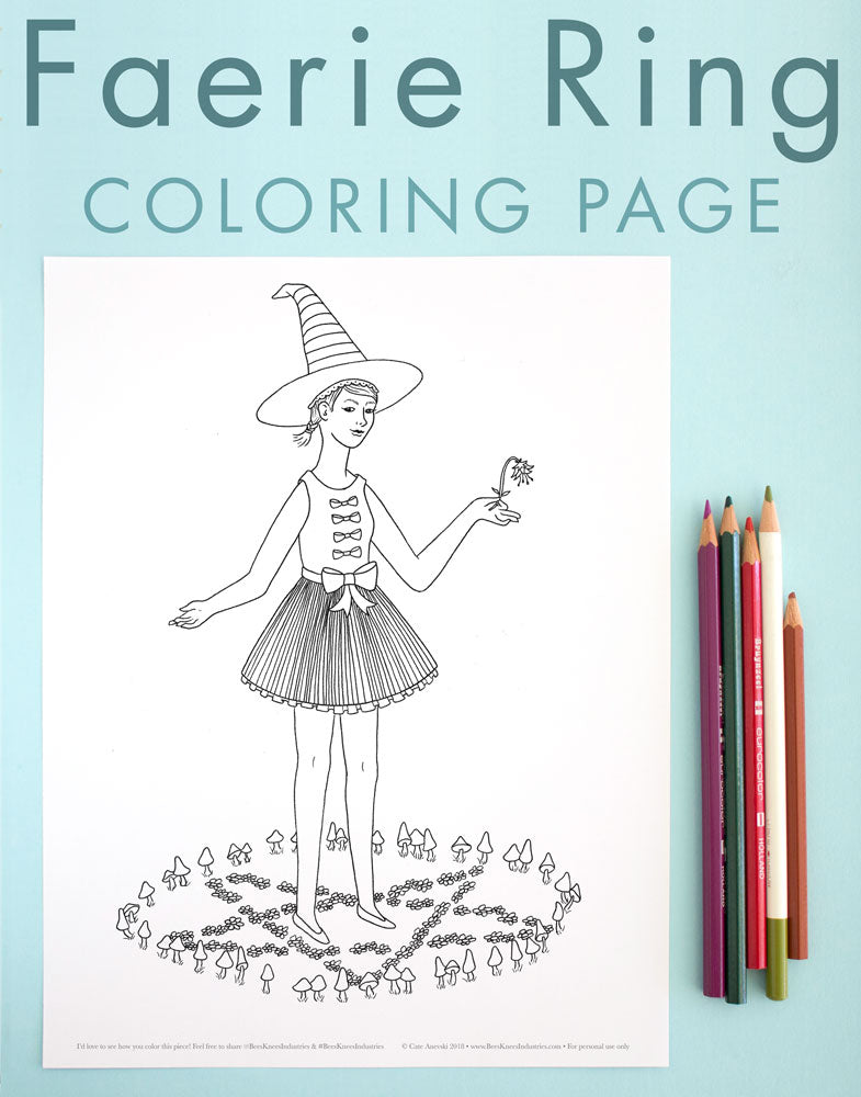 Witch in a Faerie Ring coloring page