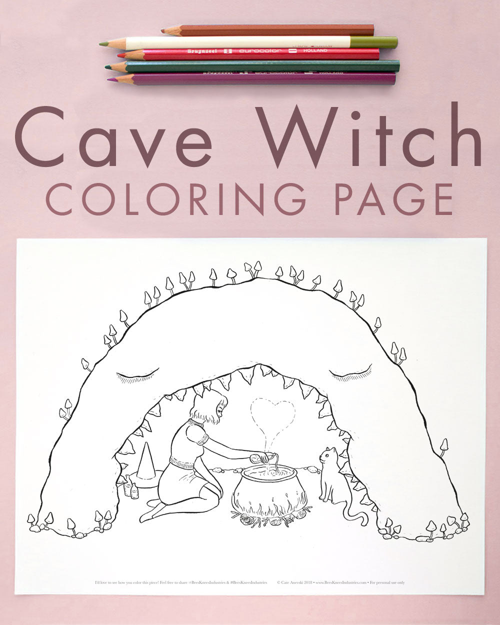 Cave Witch Love Spell Coloring Page