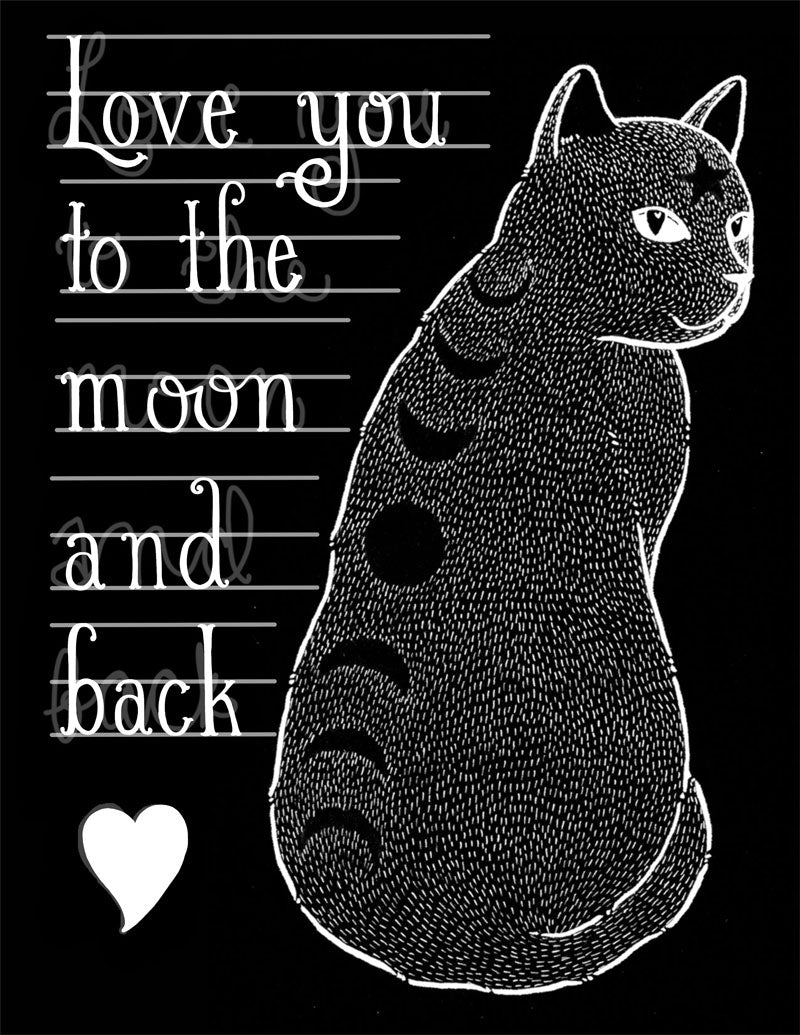 Moon Phase Cat card