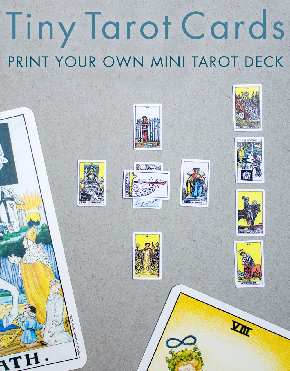 image about Printable Tarot Deck called Printable: Miniature Tarot Playing cards Bees Knees Industries