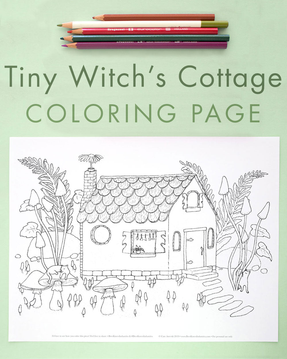 Witch's Cottage Halloween Coloring Page
