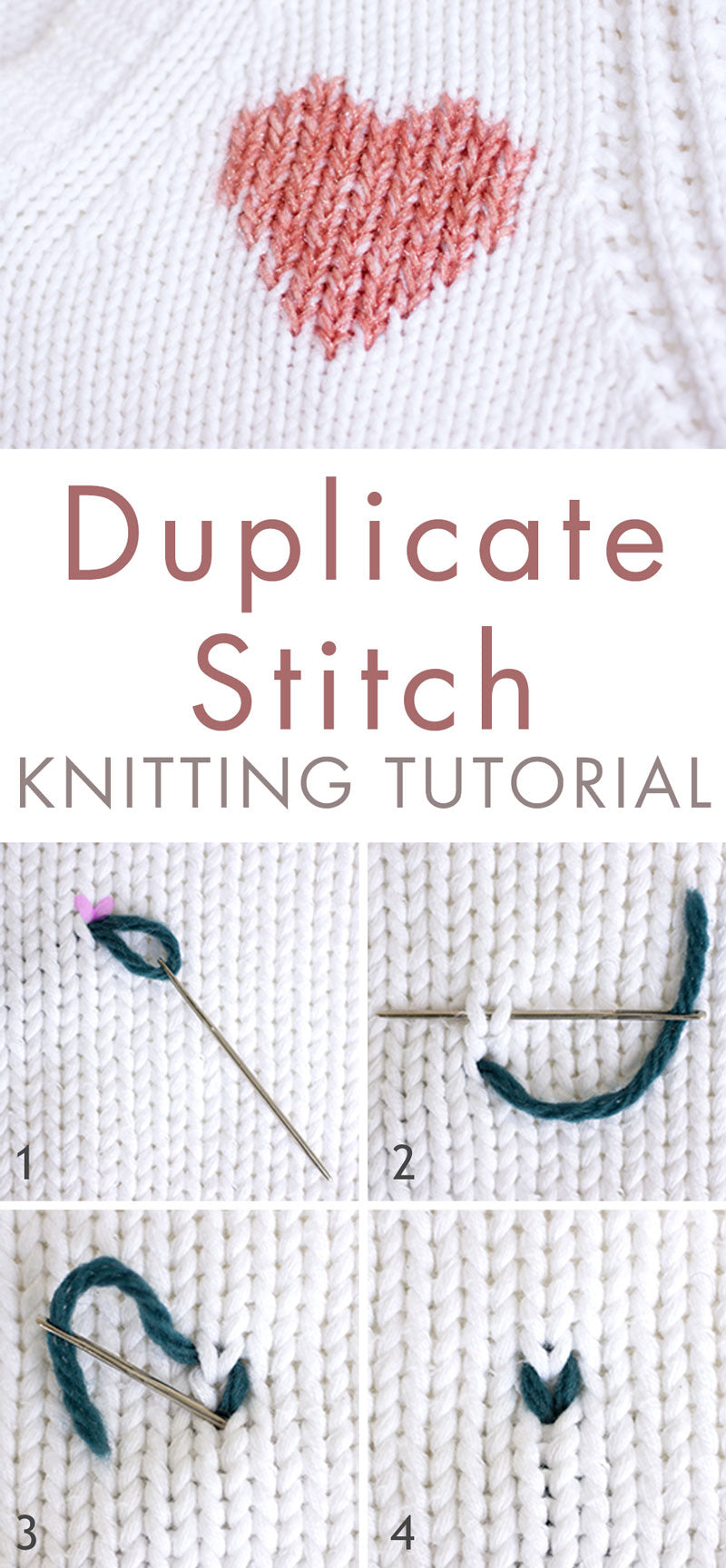 Duplicate stitch embroidery and knitting tutorial