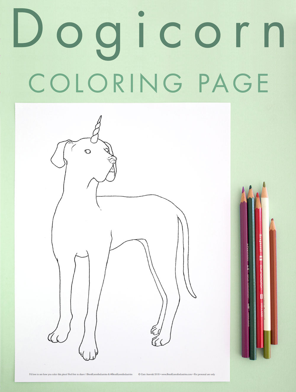 Dogicorn Coloring Page