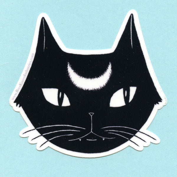 Black Lunar Cat Sticker