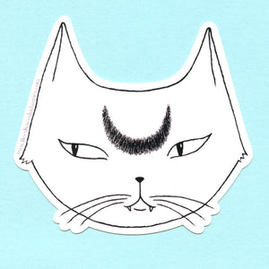 White Lunar Cat Sticker