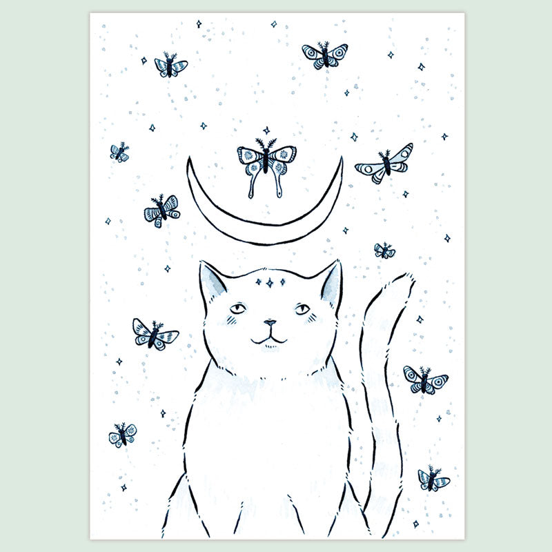 Cat and Moths Print